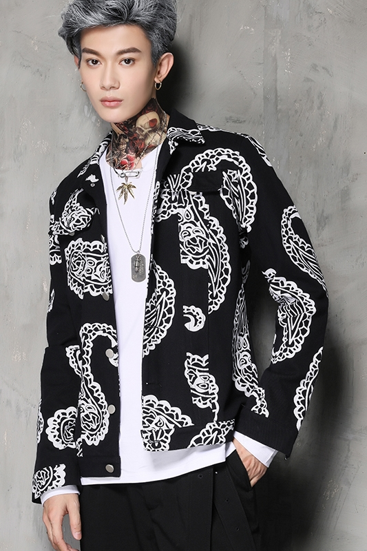 Freeship mens printing white flower black jacket/casual outfit ...