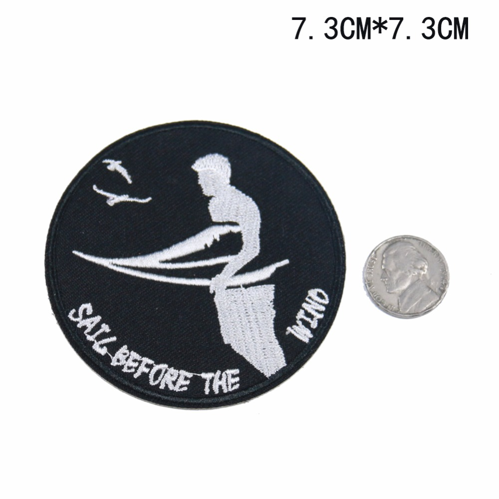 1PC Surfing Sail Water Sports Badge High quality Embroidery Iron on Patches for Clothing Boys Clothes Free Shipping 70*70mm