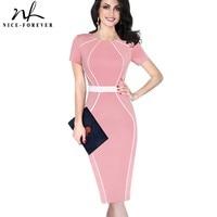Nice Forever Vintage Color Block O Neck Female Dress Short Sleeve Slim Tunic Wear To Work
