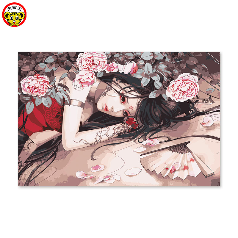 Diy digital oil painting by numbers drawing hand painted picture Wall Decor pic Chinese antique girl ink style peony flower