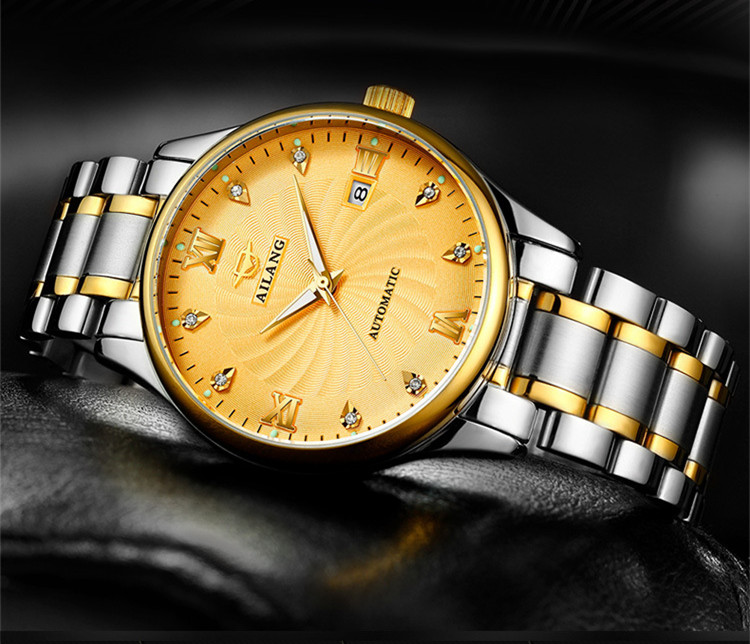 Classic Business Designer Men Roman Crystals Dress Watches Auto Self-wind Steel Wrist watch Calendar Analog Relojes 3ATM W020 luxury men brand crystals dress watches self winding mechanical 316l band calendar wristwatch saphir relojes analog 3atm nw4239