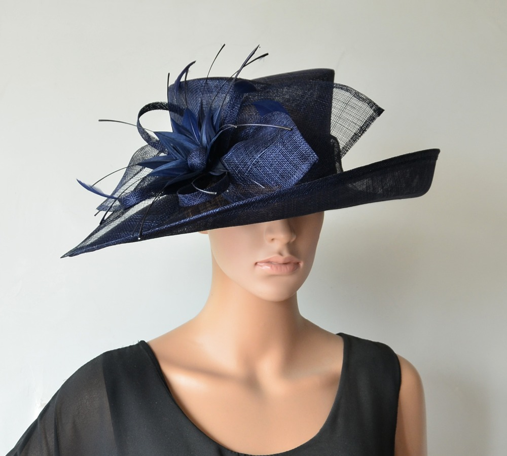 Wide Brim Sinamay Hats Fascinators Church For Races Wedding Kentucky Derby 4 Colors Ivory Royal Navy Blue Free Shipping In Fedoras From Women S