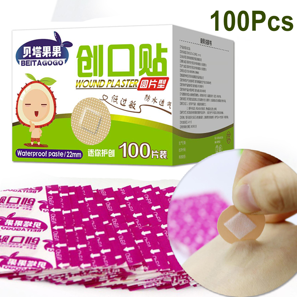 Mini Waterproof Breathable Circular Band Aid Small Wound Patch Hemostasis Adhesive Bandages First Aid Emergency Kit For Kids