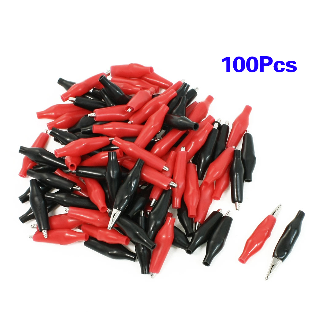 LHLL-100 Pcs Croc Clip for Test Leads Black / Red Crocodile Clips S UK 100 pcs flat small test clip for multimeter red black