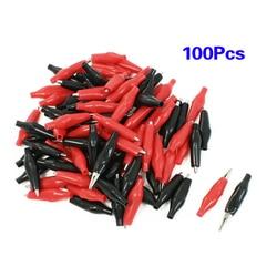 LHLL-100 szt. Klips Croc na przewody pomiarowe czarny/czerwony klipsy krokodylkowe S UK