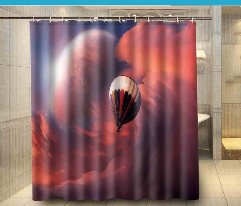 Home Bathroom Docors Hot Air Balloon Red Cloud Shower Curtain 180180cm Waterproof Polyester Bath Cortina De Bano In Curtains From