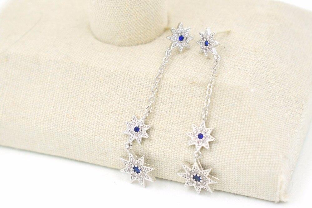 CHOW APINO zircon earrings for women/girl luxury silver pin star shape drap earrings fashion jewelry