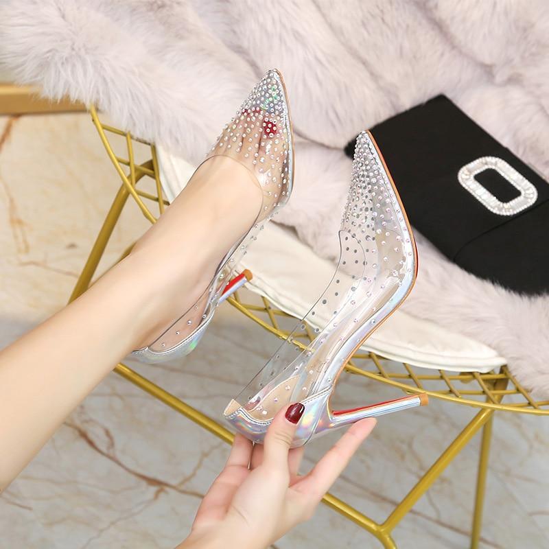 Stiletto Silver Wedding-Shoes Gold Pumps Crystal Rhinestone Bride Clear High-Heels Party
