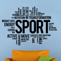 DCTAL Gym Name Sports Sticker Fitness Words Crossfit Decal Posters Vinyl Wall Decals Parede Decor Mural Gym Sticker