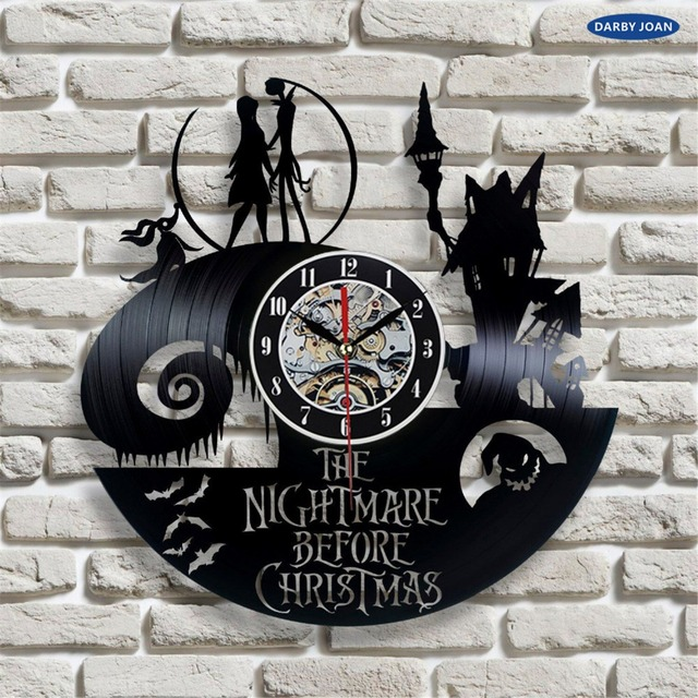 nightmare before christmas film liebesgeschichte schallplatte wanduhr dekorieren ihr haus. Black Bedroom Furniture Sets. Home Design Ideas