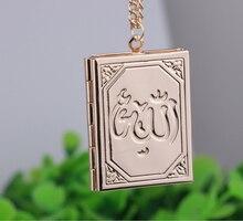 Mới Màu Bạc Muhammad Allah Hồi Giáo Hồi Giáo Kinh Quran Kinh Koran Sách Loket Mặt Dây Chuyền Dây Chuyền Vòng Cổ Cho Nữ & Nam Tôn Giáo