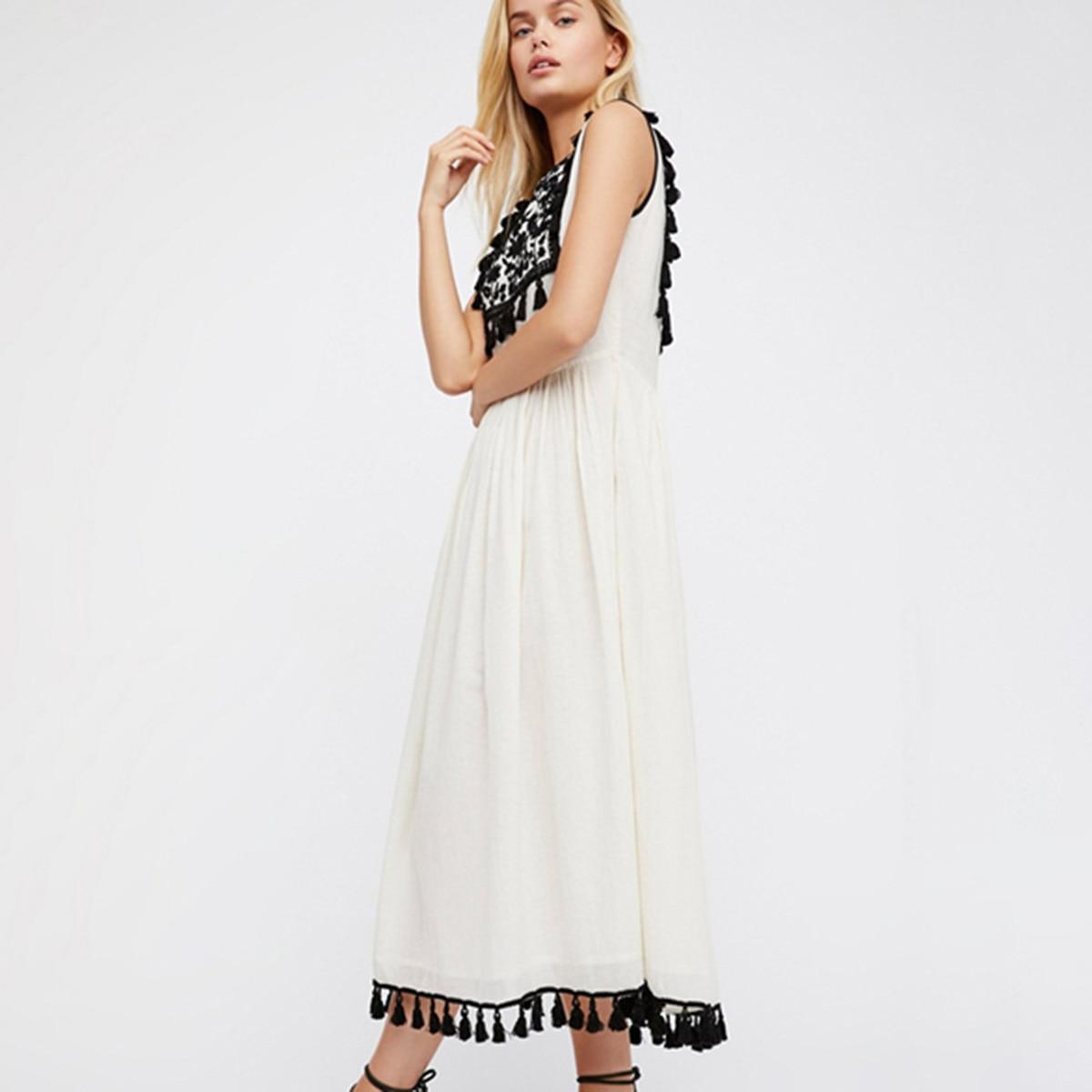 Boho Floral broderie Midi robe femmes été garniture de gland Vintage blanc lâche robes plage Boho Boho Hippie Chic robe 2019
