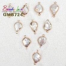 2c8ed7a2ca50 Cuentas de perlas irregulares planas blancas coloridas al por mayor de  12-15mm para hacer joyas colgantes naturales Diy collar p.