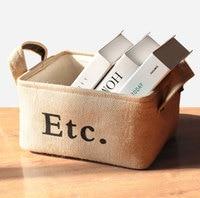 3 Boyutları Toptan Zakka tarzı pamuk astar ile saklama kutusu jüt çeşitli eşyalar sepet mini masaüstü saklama çantası