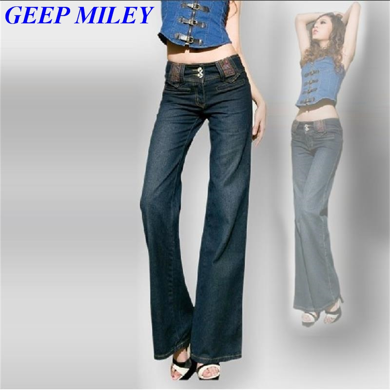 Free Shipping Promotion Women Slim wide leg pants straight long Flares jeans female fashion boot cut