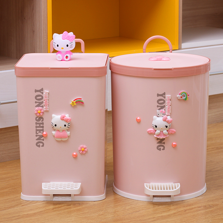 7L/9L Cartoon mignon Hello Kitty poubelle pied pédale maison salon chambre cuisine poubelle avec couvercle plastique seau rose