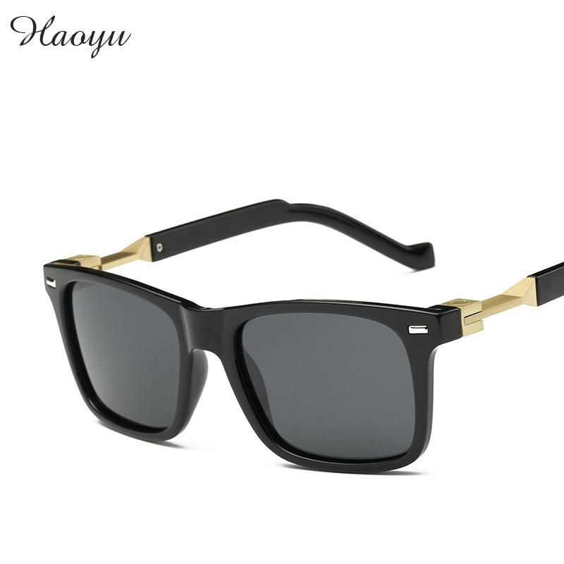haoyu New Poster Vintage Polarized Sunglasses Driver outdoo.r Rectangle Alloy Men sun glasses Oculos De Sol Masculino