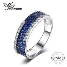 JewelryPalace 0.81ct Creado Espinela Azul Cluster Anillo de Cóctel Anillo de Plata 925 para Las Mujeres de Moda Joyería Fina