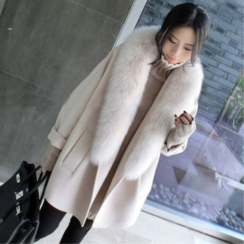 Winter Coat Women Wool Warm 2019 New Winter Coat Female Korean Loose Fur Collar Cocoon Size Large Cloth Coat Coat