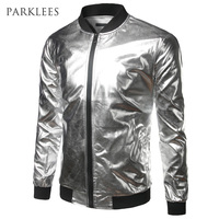 Silver Metallic Bomber Jacket Men Mandarin Collar Shiny Night Club Baseball Varsity Jacket Men Casual Slim