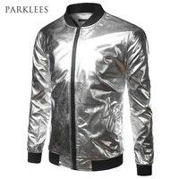 Silver Metallic Bomber Jacket Men Mandarin Collar Shiny Night Club Baseball Varsity Jacket Men Casual Slim