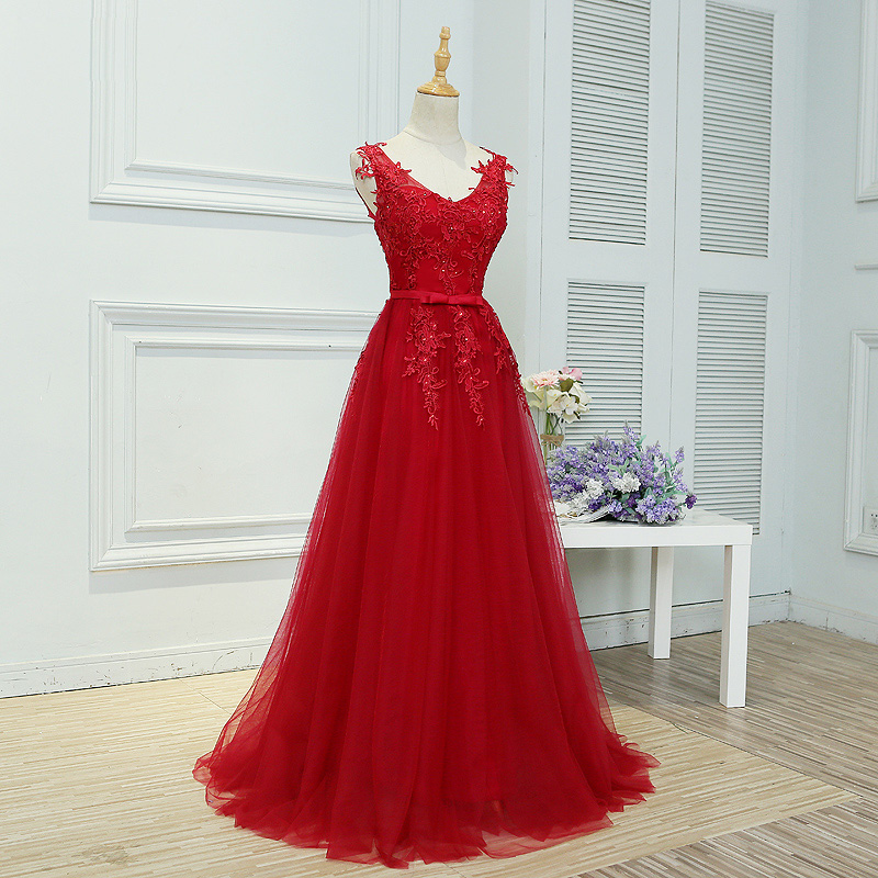 New arrival party evening dresses Long dress Vestido de Festa A-line appliques gown sexy V-opening back free shipping
