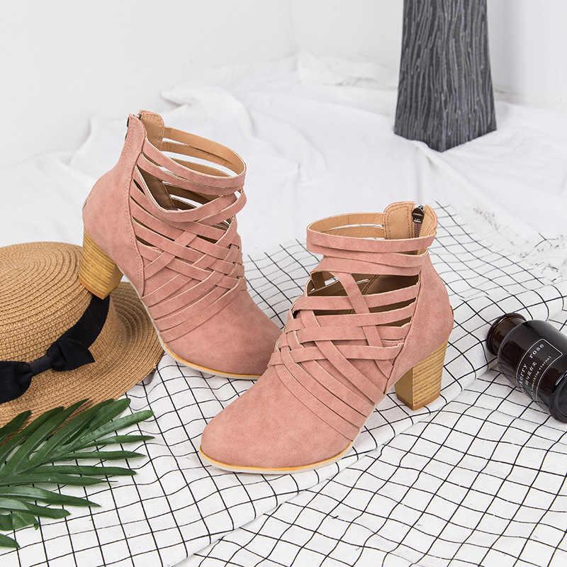 KARINLUNA/Новые модные туфли на высоком квадратном каблуке с молнией, женские вечерние Демисезонные ботильоны в стиле ретро, большие размеры 35-43