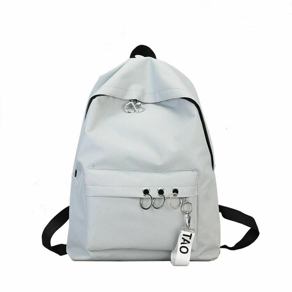 Fashion Men's And Women's Backpacks Simple Trend College Wind Solid Color Canvas Backpack