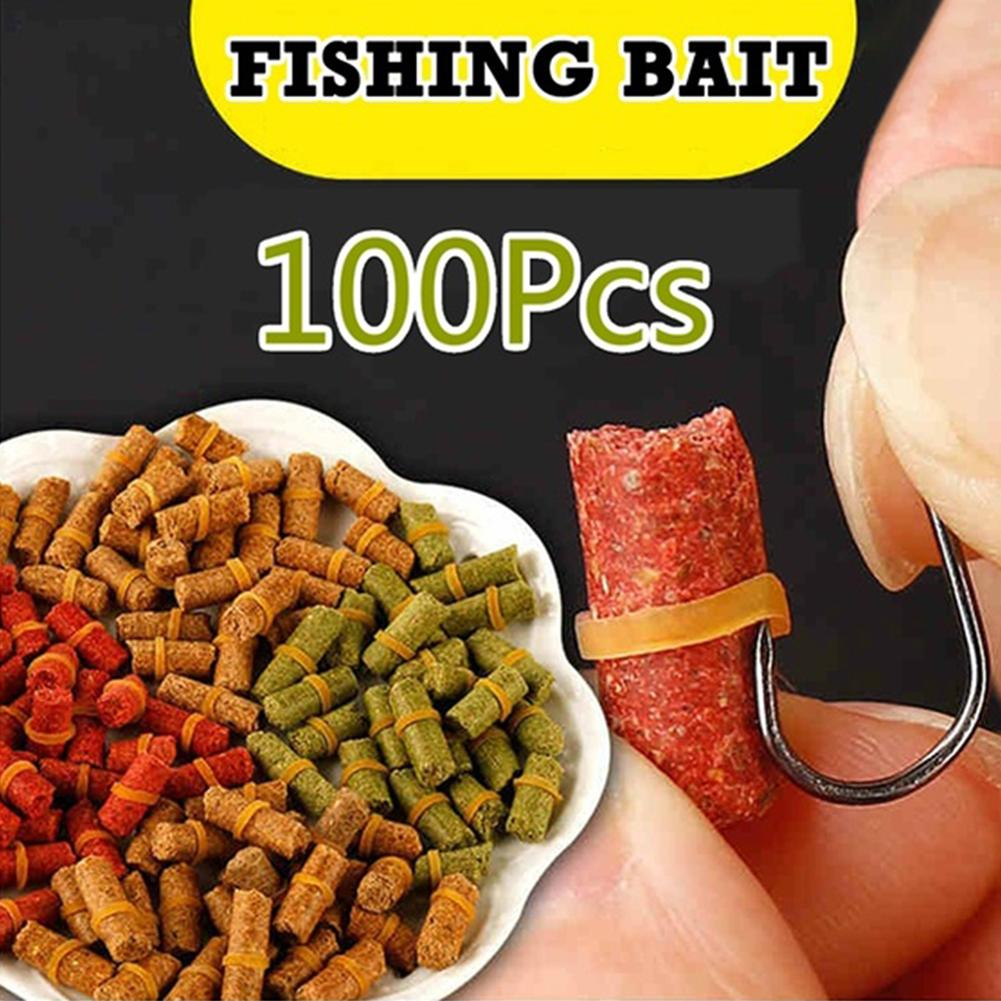 NEW 100Pcs Colorful River Sea Fishing Tackle Carp Fish Baits Lure Fresh Scent Crucian Smell Grass Lure Insect Particle Rods Suit