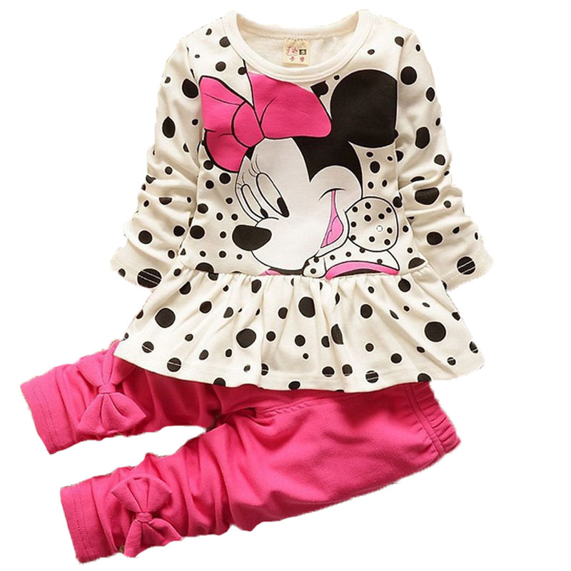 Baby Girls Cartoon Minnie Dot T Shirt Legging Pants Suits Children Clothes Toddler Kids Clothing Sets Girls Sport Causal Clothes 2017 summer girls sets clothes short sleeve chiffon baby girls sets for kids big girls t shirts and stripe shorts children suits