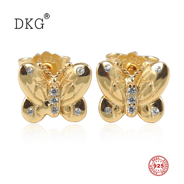 Spring New 925 Sterling Silver Gold Butterfly Stud Earrings with Clean Crystal Fit for Original Women DKG Earrings DIY Jewelry