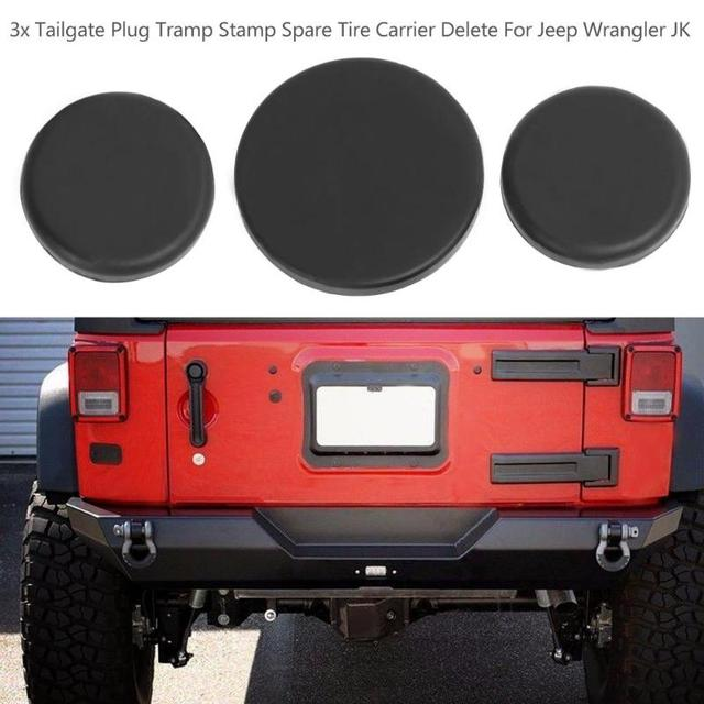 vodool 3pcs tail gate spare tire brake light wiring hole carrier rear door  black rubber plug hole for jeep wrangler jk 07-18