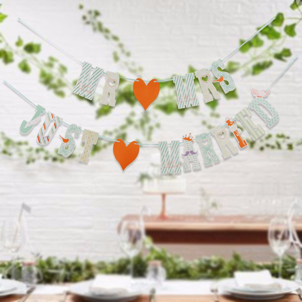 MR AND MRS JUST MARRIED Wedding Banner Set For Wedding Table Centerpiece Decorations for Reception Bridal Shower Car Decorations in Banners Streamers Confetti from Home Garden