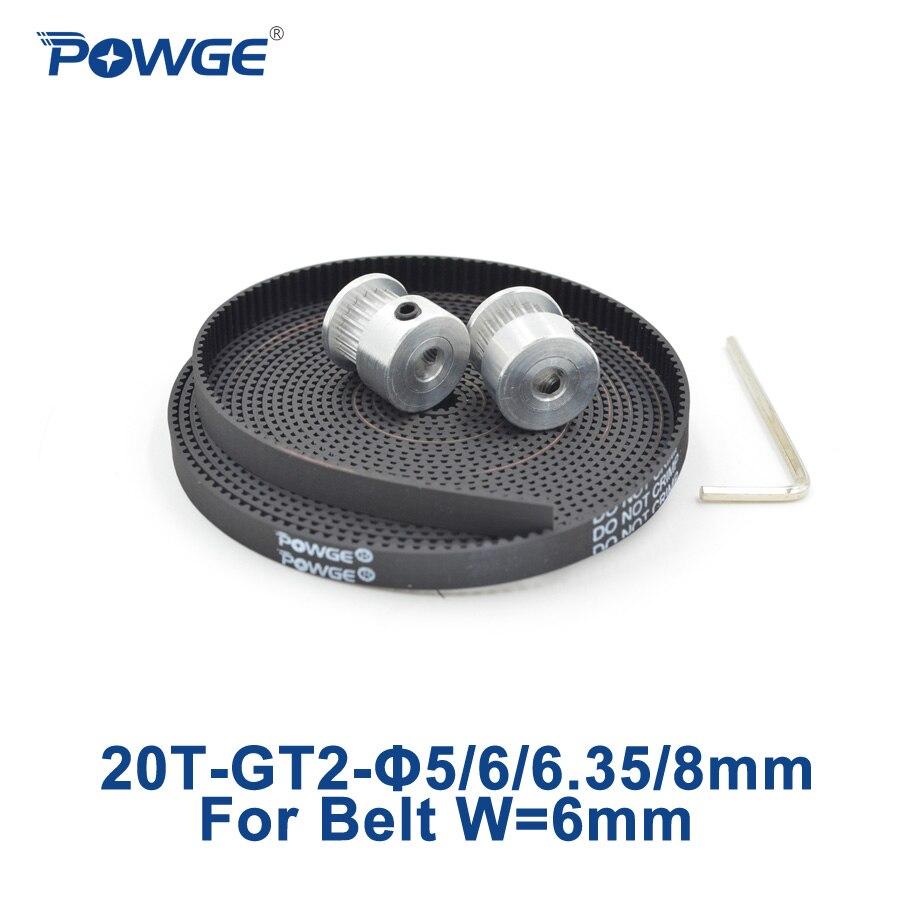 Powge 2 unids 20 dientes GT2 polea sincrónico 5mm 6mm 6.35mm 8mm + 5 Metro goma GT2 correa de distribución abierta anchura 6mm 20 dientes 20 t