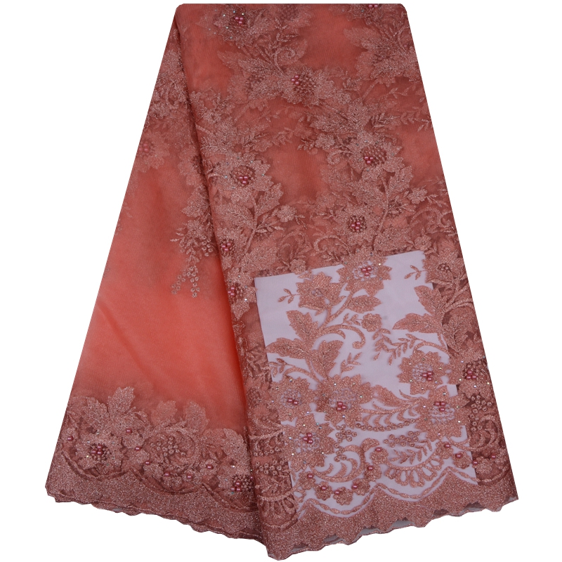 Best selling Peach High Quality French Lace Fabric Sequin Line African Lace Fabric For Nigerian Lace