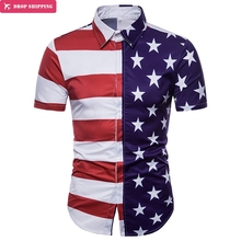 купить Star Flag Print Mens Shirts 2018 Summer New Short Sleeve Chemise Homme Casual Slim Fit Striped Flag 3D Chemise Homme Camiasa дешево