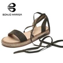 Bonjomarisa 2017 gladiator flock ankle-wrap frauen sandalen sommer weniger plattform offene spitze ausschnitt frau schuhe größe 35-39