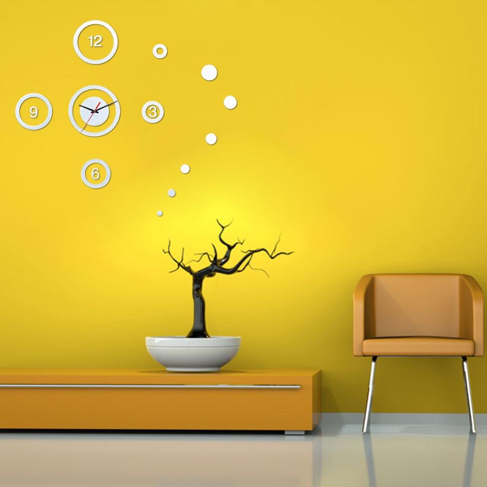 Mirror Wall Clock Trendy DIY 3D Silver Wall Stickers Clocks Home ...