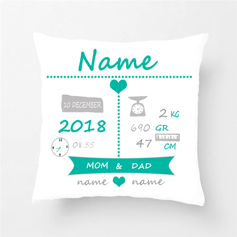 Custom Baby Birth Stats Throw Pillow Cover Decorative Case Cotton Nursery Cushion Kids Christmas Gift