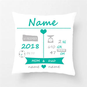 Pillow-Cover Decorative Stats Birth Nursery Custom Baby Cotton Throw Polyester Cute Simple