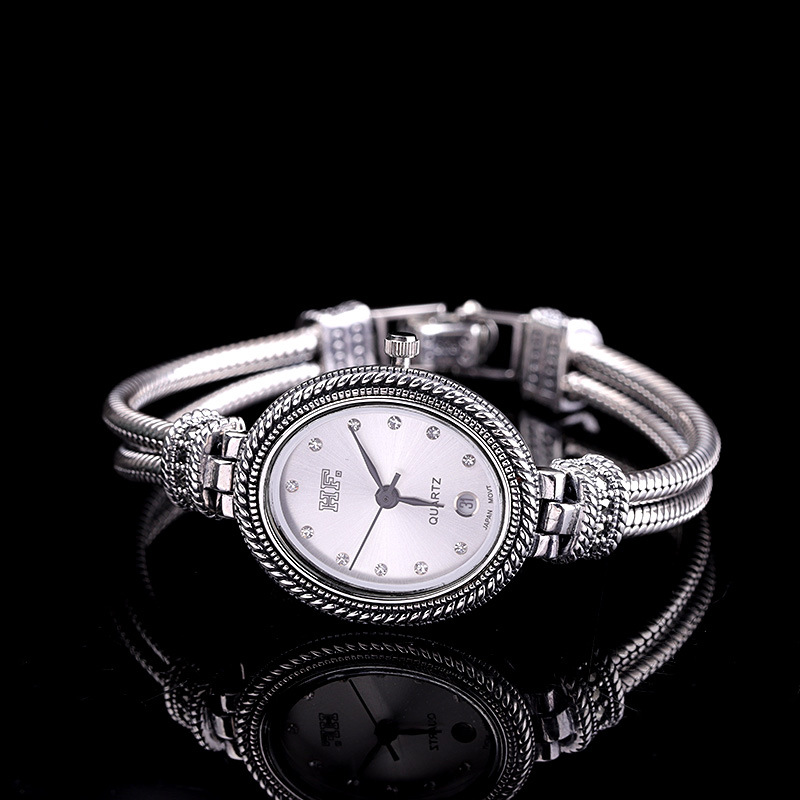 Silver Products Manufacturers Direct S925 Sterling Silver Jewelry Wholesale Jewelry Retro Thai Silver Ladies Bracelet Watch
