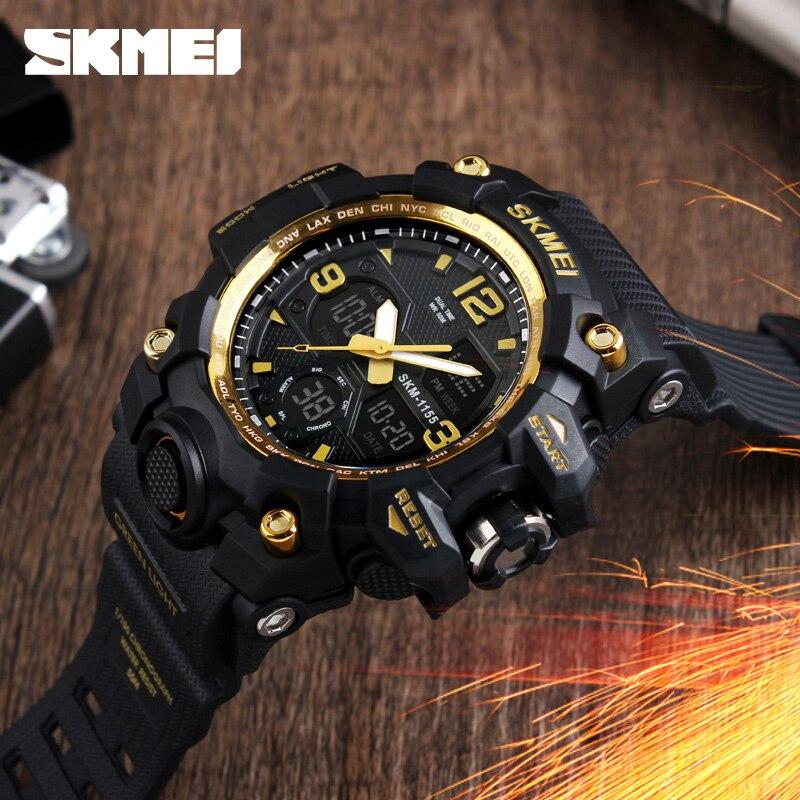 2aba70f200a1 Azul del reloj SKMEI al aire libre militar reloj deporte Digital relojes  hombres reloj de alarma Chrono impermeable 50 m gran Dial electrónica  relojes de ...