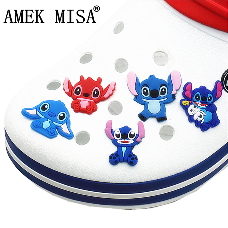 Single Sale 1 To 5Pcs Novel Shoe Charms Accessories Cartoon Stitch Shoe Decoration For Croc Jibz Kid's Party X-mas Gift DO-SDQ05