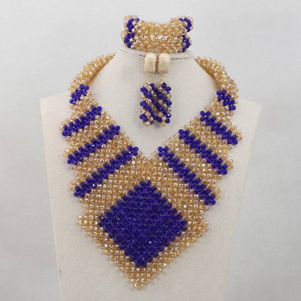 New Gold and Blue Chunky Statement Bib Necklace Set African Jewelry Set Gold Bridesmaid Jewellery Set Free Shipping WD705New Gold and Blue Chunky Statement Bib Necklace Set African Jewelry Set Gold Bridesmaid Jewellery Set Free Shipping WD705