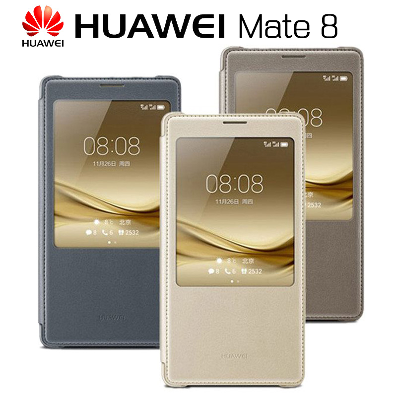 HUAWEI MATE 8 Case Original Official Smart View Full Window Flip PU Leather Cover Funda font
