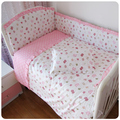 Promotion! 6-7pcs Pink baby bedding set 100% cotton crib baby cot sets baby cot bedding set(bumpers+sheet+pillow cover)