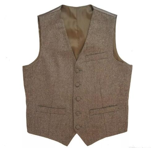 2017 Tweed Vintage Rustic Wedding Vest Brown Vest Men Summer Winter Slim fit Groom\`s Wear Mens Dress Vests Plus Size