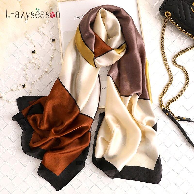 Fashion hijab silk   scarf   women long satin head   Scarves     wraps   luxury brand winter shawl designer 2019 neckerchief foulard femme
