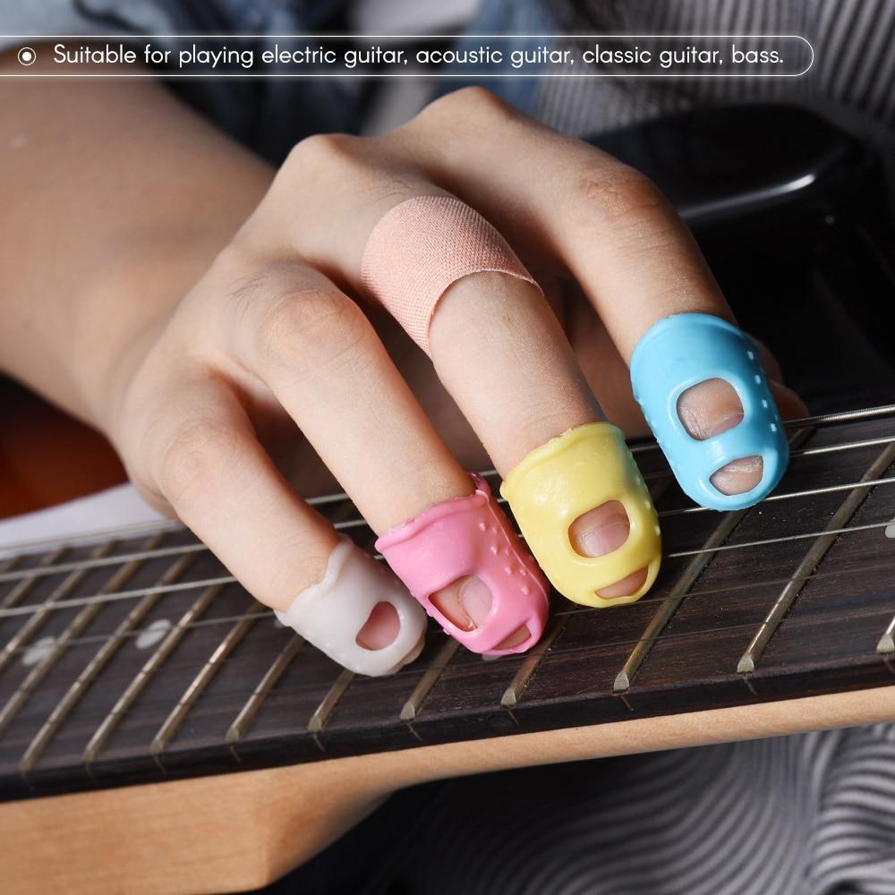 buy 12pcs guitar fingertip protectors silicone finger guards for guitar 4. Black Bedroom Furniture Sets. Home Design Ideas
