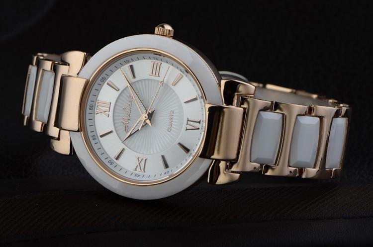 Melissa feminino elegante pulseira de cerâmica relógios